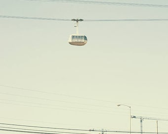 photography, Portland photograph, Oregon travel, aerial tram transportation, retro vintage mint green blue, Seattle sign, lines, print