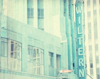 photography, LA, the Wiltern photograph Los Angeles California music venue, art deco architecture, mint green, fine art print, Koreatown