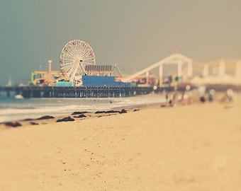 ferris wheel, Santa Monica photo, LA photograph, nursery art, carnival, beach print, kids room decor, sand, roller coaster, seaside pier