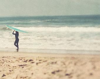 surfer photograph, girl surfer photo, beach photography, green blue, tan beige, girls room decor, surfboard, California, ocean waves, print