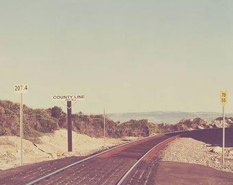 beach photography, travel photo, train tracks, California coast, San Onofre, Trestles, county line, ocean, seaside, San Diego, SoCal