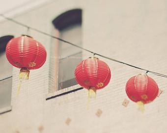 red chinese lanterns photo, San Francisco Chinatown print, photography, paper lanterns, asian decor, beige three, modern decor, California