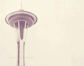 Seattle photography, photo of Space Needle, Sleepless, urban architecture, minimalist decor, neutral pale white winter gray, PNW travel