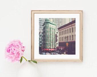 framed San Francisco wall art, North Beach photograph, Cafe Zoetrope photo, Sentinel Building, green decor, Coppola, California photography