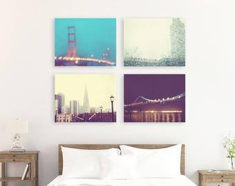 San Francisco print set, photography, California travel romantic dreamy photo Golden Gate Bay Bridge twinkle bokeh lights, purple blue