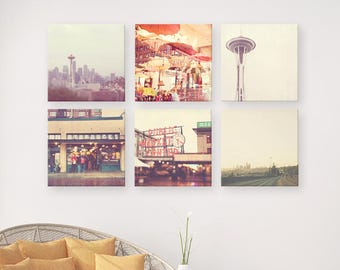 Seattle print set, Seattle photo collection, travel photography, Space Needle skyline Starbucks Pacific Northwest grey red green urban decor