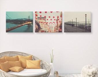 San Francisco print set, wall art, San Francisco photography set, California decor, Golden Gate Bridge, Chinatown, Pier 7,  gift set