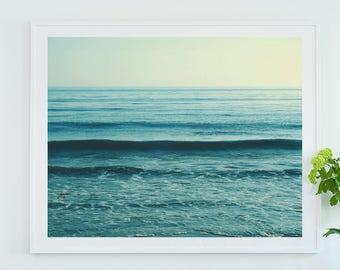 ready to hang beach print, framed beach photograph, blue decor, coastal wall art, nautical print, ocean wave photo, nursery decor, yoga art