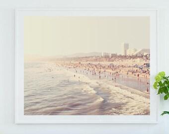 framed artwork, Sunny California print, framed beach photography, Santa Monica art print, framed wall art, beach house decor, gray, white