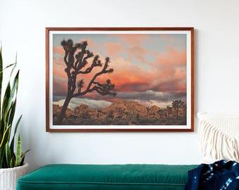 framed Joshua Tree sunset photo, framed desert print, ready to hang baby nursery decor, California art, boho wall art, landscape photography