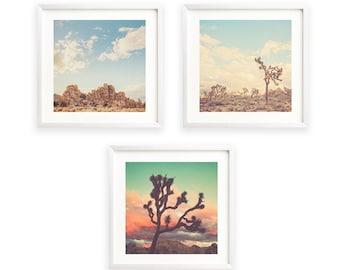 Desert Photography Print Set, Joshua Tree Photos, California Wall Art, Rustic Decor, Baby Nursery Gift, Set of 3