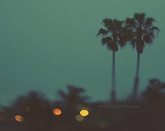 California print, palm trees photograph, San Diego art, blue baby nursery decor, loft wall art, dreamy summer art, travel print, bohemian