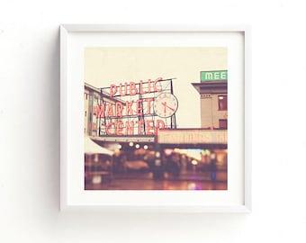 framed Seattle photograph, Pike Place Market print, travel photography, red decor, Pacific Northwest art city print, loft decor, Myan Soffia