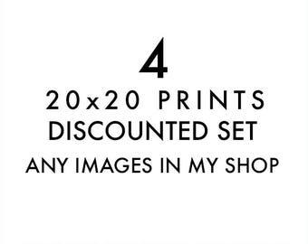 large wall prints, set of 4 20x20 photographs, your choice, custom set, LA prints, beach photography, Seattle wall art, California decor