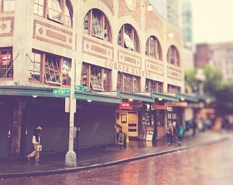 Pike Place photograph, downtown Seattle, Starbucks coffee, rainy day in Seattle, Pacific Northwest urban street, travel photography print