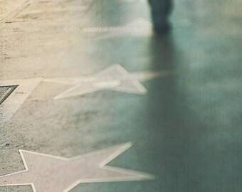photography, Hollywood photo, Walk of Fame, Hollywood Boulevard, stars, urban decor Los Angeles, LA, green blue, Myan Soffia, California art