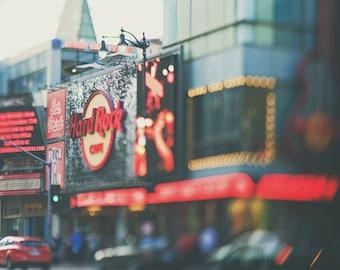 Hard Rock Cafe photo, Hollywood Boulevard photograph, LA photo, abstract, city print, red, musician gift, streetscape art, California