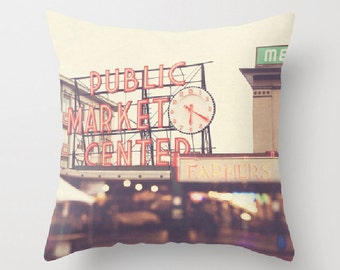 decorative throw pillow, Seattle pillow cover, West Coast home decor, Pike Place market, travel photo, red, urban city pillow 18x18