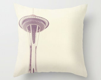 Seattle pillow cover, decorative throw pillow, white gray neutral, Pacific Northwest home decor, Space Needle photo 18x18 pillow case