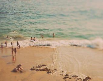 beach aerial photography, beach print, nursery decor, bedroom wall art, seascape photo, California photograph, summer decor, modern art