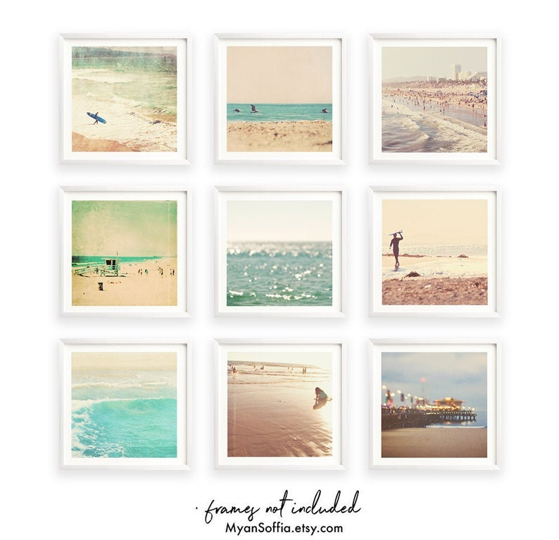 print set beach photography 9 prints ocean pier peppermint blue sea green surfer brown kids room decor Beach wall art seaside photos
