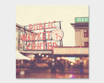 Seattle photo canvas wrap, Pike Place Market picture, Seattle photography, ready to hang art, PNW print, red, cream, bokeh photograph