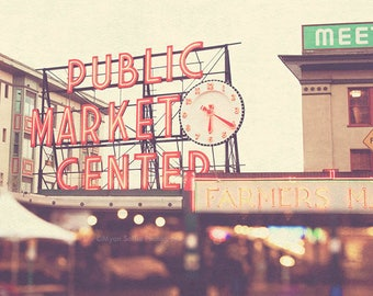 large Seattle wall art, Pike Place Market poster, Seattle photo, red, bokeh, urban city home decor, Pacific Northwest art, 40x40 print
