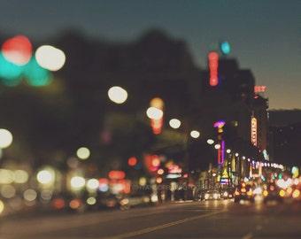 Hollywood Boulevard at night photo, Los Angeles print, bokeh photography, cityscape street travel print, California decor, abstract art