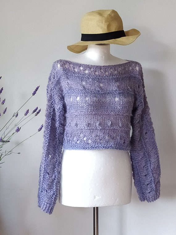 loose fit shrug hand knitted textured sweater light /& airy cropped sweater Lavender alpaca sweater open work pullover wedding sweater