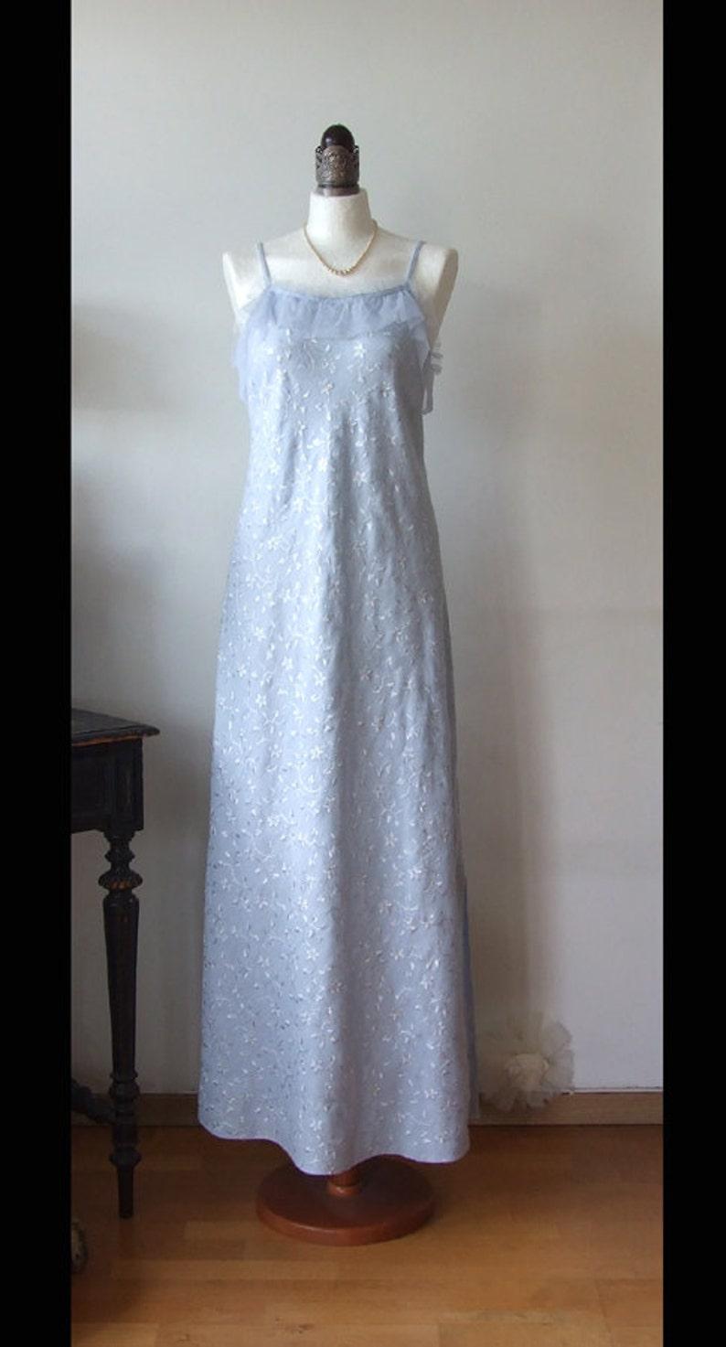 Blue linen dress, embroidered summer dress, maxi dress with straps, blue  wedding dress, prairie girl dress, XL long dress, festival outfit