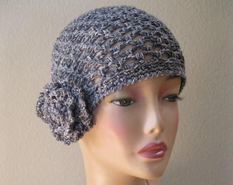 Charcoal Cotton/Linen/Silk/Nettle Fiber Cloche with Detachable Flower Hand Crocheted by Swedishknit