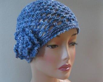 Blue Cotton/Linen/Silk/Nettle Fiber Cloche with Detachable Flower Hand Crocheted by Swedishknit