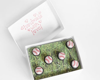 Baseball /Softball Push Pins. Summer Home Office, Kitchen Organization Gift for Coach, Players, Students. Custom Team Colors. Set of 6
