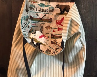 Lets go to the Lake and Relaxand Fis!  One of a kind reusable reversible washable tote bag!