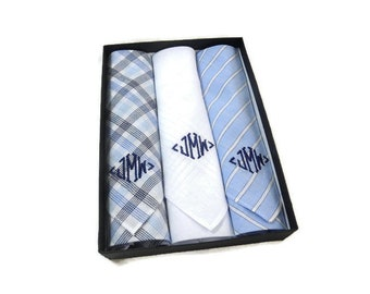 5154a866faa9 Monogrammed Handkerchiefs Blue Plaid Stripe and White. Cotton Handkerchiefs.  2nd Anniversary Gift. Set of 3. Mens Gift. New Style