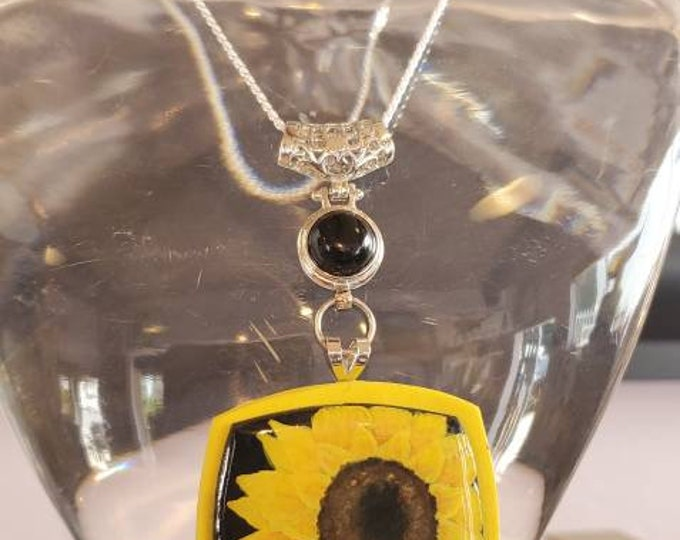 Featured listing image: Sunflower Polymer Necklace .925 Sterling Silver