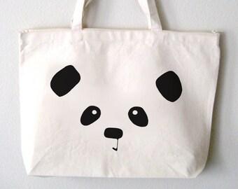Panda Face Tote Bag (Zippered)