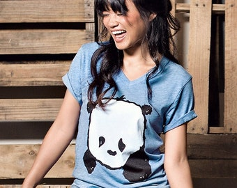 Baby Panda V-Neck (Light Blue Heather)