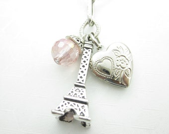 Romantic Paris France Necklace, Eiffel Tower Charm with Tiny Heart Locket and Pink Crystal - X028