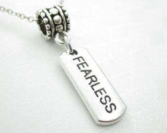 Fearless Necklace, Word Pendant, Stamped Charm, Engraved, Inspirational Jewelry, Fits Pandora - X053