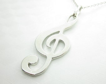 Treble G Clef Necklace, Music Charm - X018