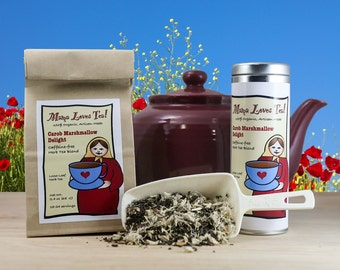 Carob Marshmallow Delight, Organic Herb Tea in a Bag or Tin, Loose-Leaf