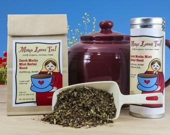 Carob Mocha Mint Caffeine-Free Herb Tea in a Bag or Tin, Coffee Substitute, 100% Organic, Loose-Leaf, Delicious
