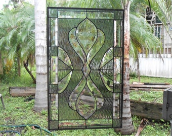 Large Stained Glass Transom Window, Traditional Antique Stained Glass Panel, Bevel Glass Window Valance, Vintage Look Stained Glass Window