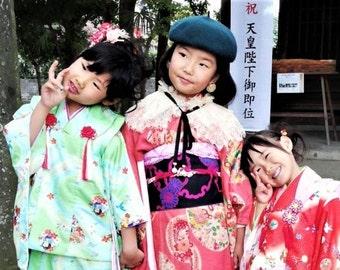 10lbs Vintage Girls Kimonos by-Pound Vintage Silk & Mock-Silks, Japanese Fabrics
