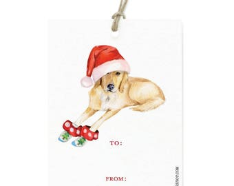 Yellow Lab Holiday Gift Tag Set - Illustrated Christmas, Holiday Dog Gift Tags with Twine