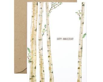 Birch Tree Anniversary Card - Illustrated Love You, Celebration, Anniversary Greeting Card