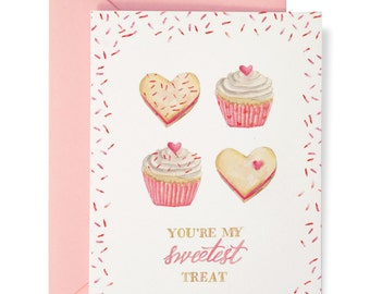 Sweetest Treat Card - Illustrated Love, Valentine's Day, Anniversary, Just Because Greeting Card