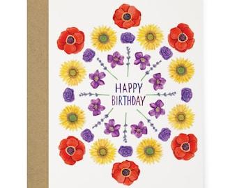 ba40c70c0ae Hippie Floral Happy Birthday Greeting Card - Illustrated Celebration