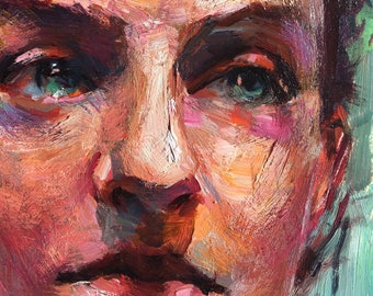Colorful Portrait Painting Thoughtful Woman